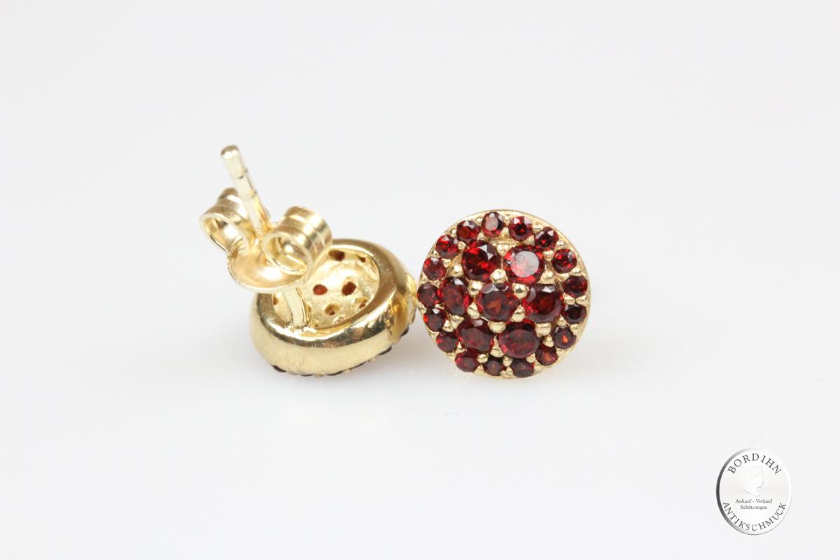 Ohrstecker 925 Silber vergoldet Granat Damen Ohrring Trachtenschmuck
