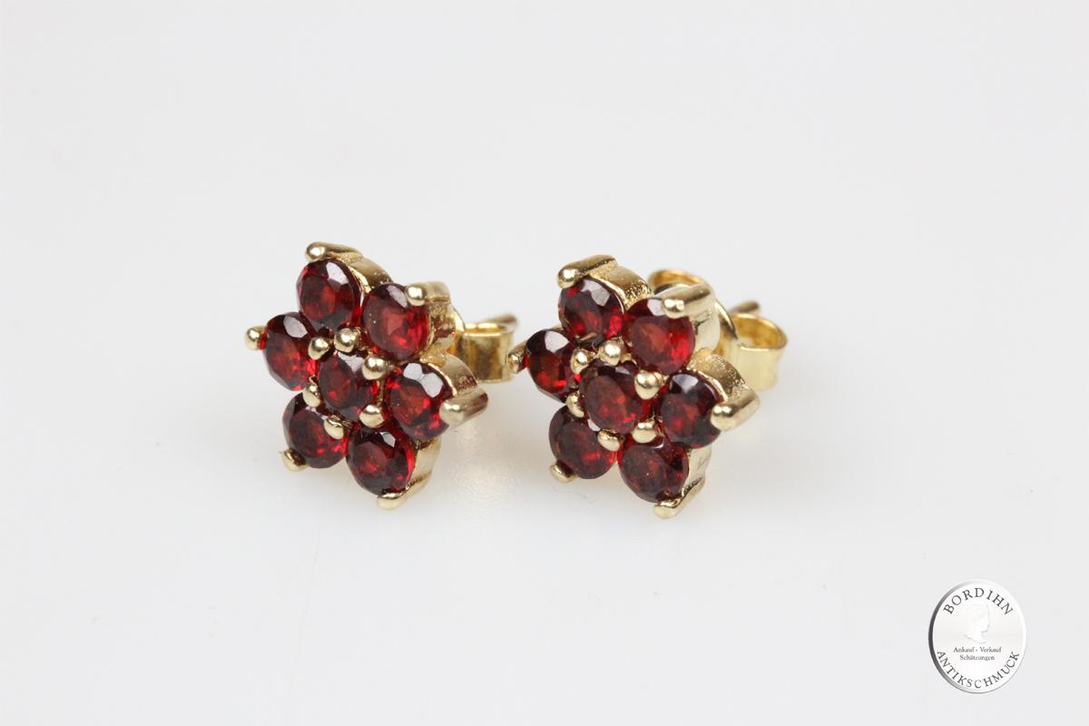 Ohrstecker 925 Silber vergoldet Granat Tracht Ohrring Damen Schmuck
