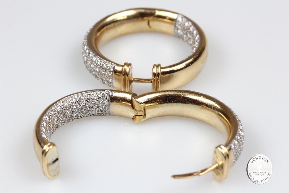 Ohrringe Creolen 18 Karat Gold Brillanten Ohrschmuck Diamanten Damen
