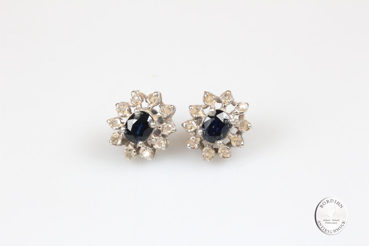 Ohrringe 14 Karat Weißgold Saphir Diamanten Ohrstecker Edelstein Damen