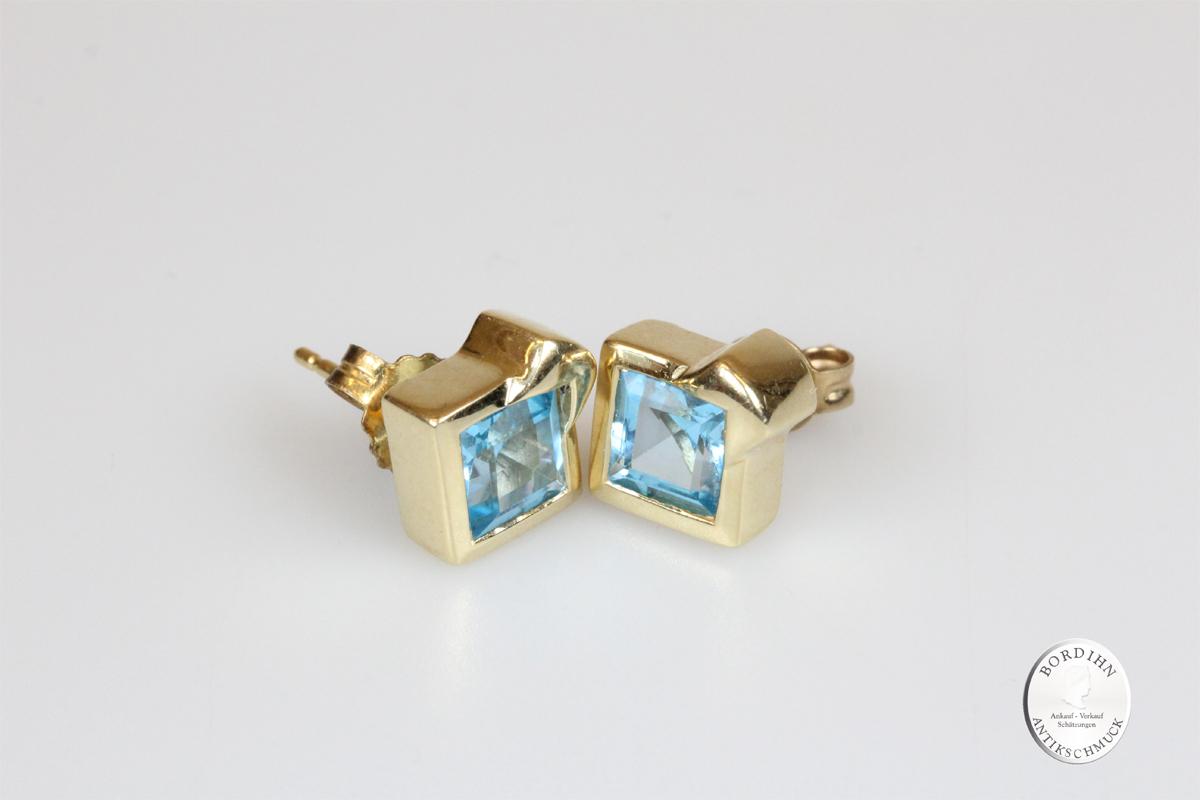 Ohrstecker 14 Karat Gold Blautopas Goldschmuck Edelstein Ohrring