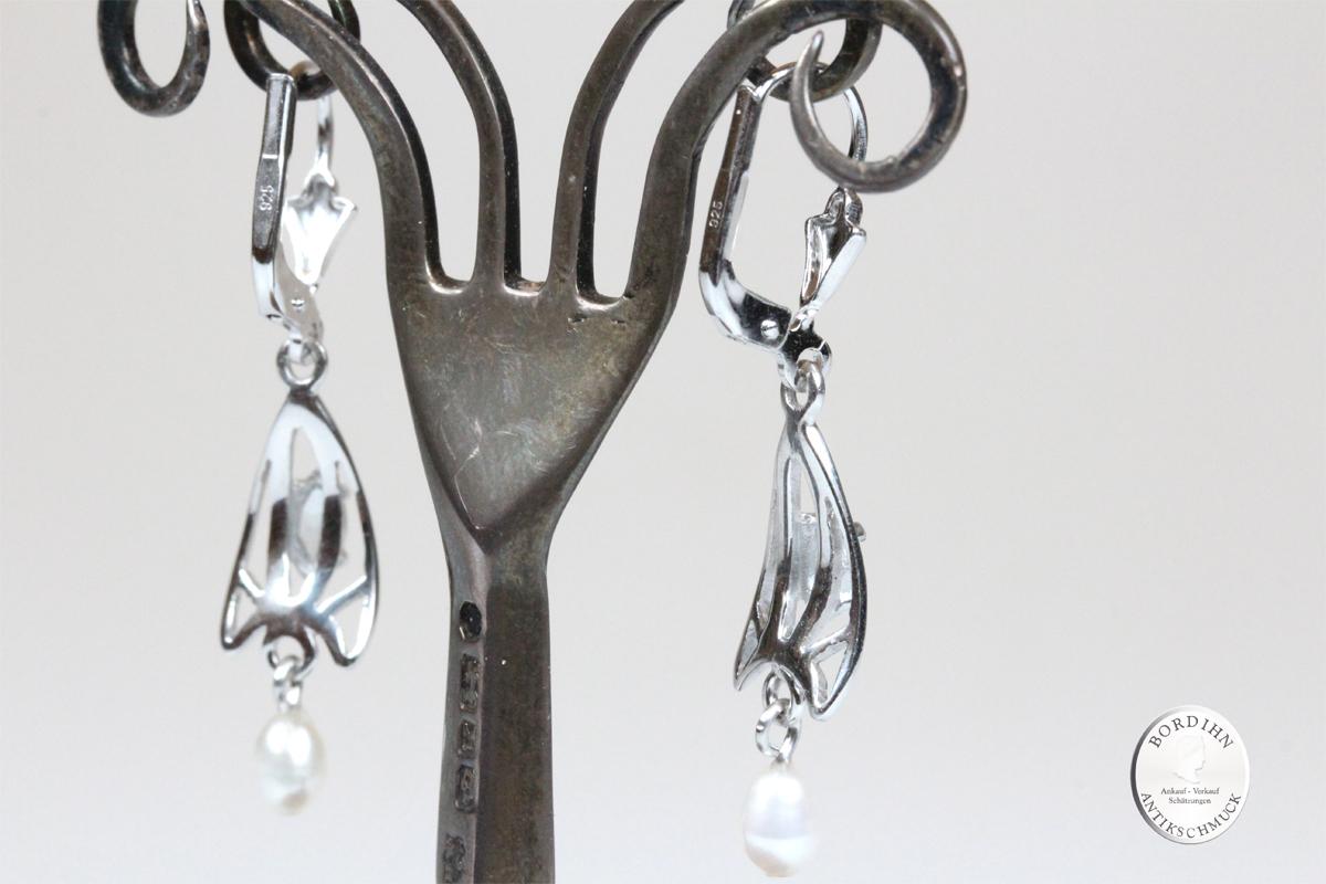 Ohrringe 925 Silber Aquamarin Perle Ohrhänger Schmuck Damen Geschenk