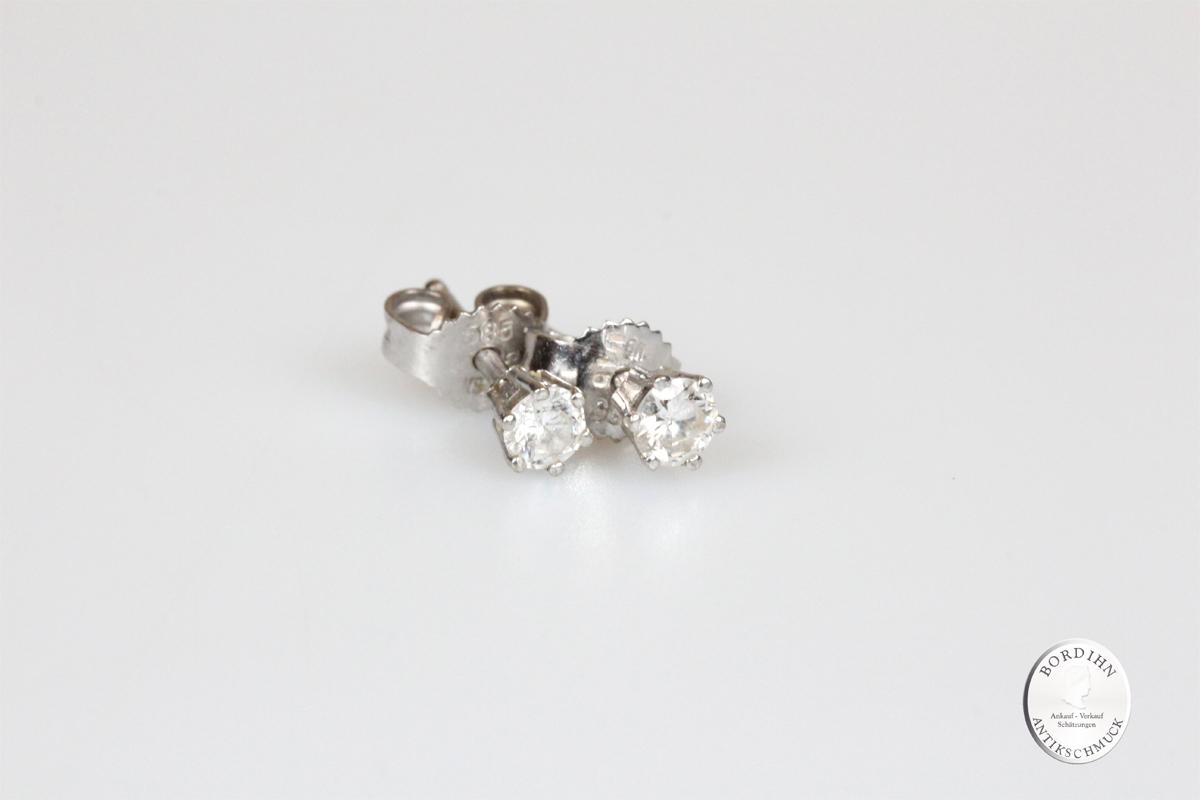 Ohrstecker 14 Karat Weißgold Brillant Goldschmuck Diamant Ohrringe Geschenk