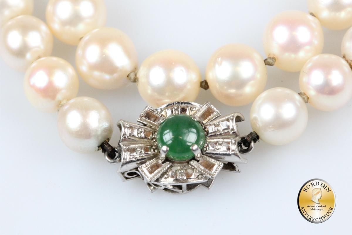 Perlkette Schloss 14 Karat Gold mit Smaragd Halskette Schmuck