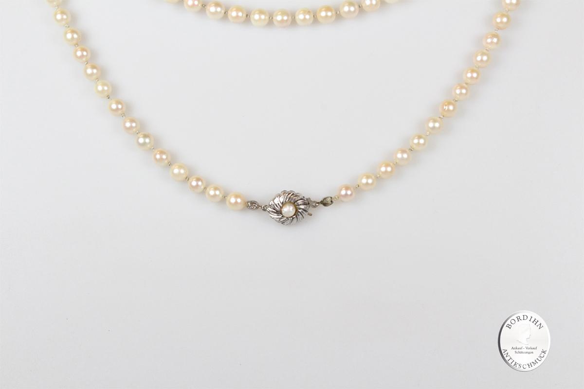 Perlenkette Verschluss 8 Karat Weißgold Halskette Schmuck Damen Geschenk