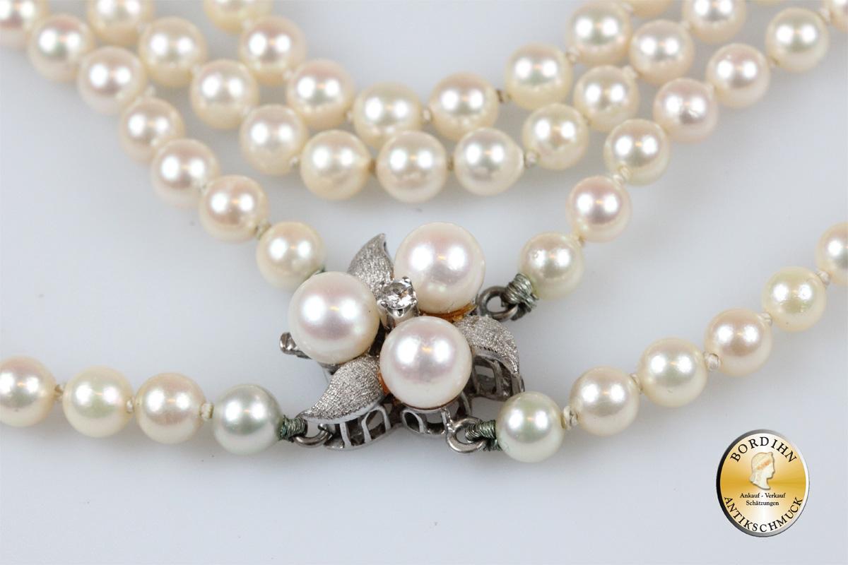 Perlkette; 2 Stränge, Schloss 14 Karat Gold mit Perlen und Diamant