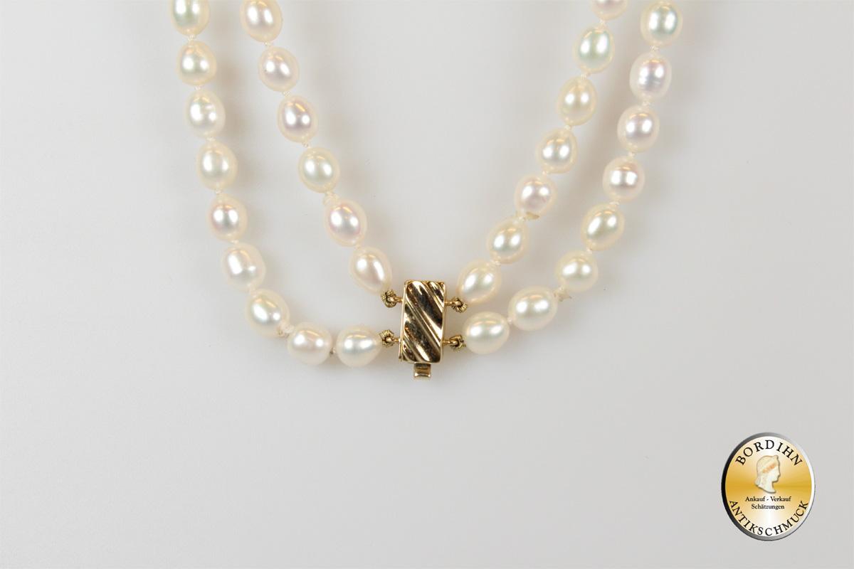 Perlkette; zweireihig, Schloss in 14 Karat Gold
