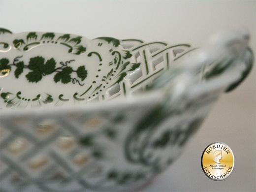 Schale Meissen durchbrochen Weinlaub Porzellan Tafelgeschirr antik