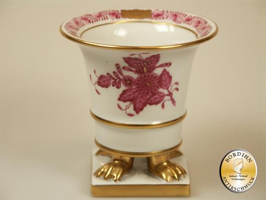 Vässchen Herend handbemalt vergoldet Porzellan Blumenvase Sammlerstück