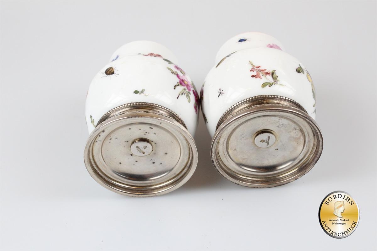 Salz und Pfefferstreuer Silber Porzellan Tafelgeschirr Arisler & Carre