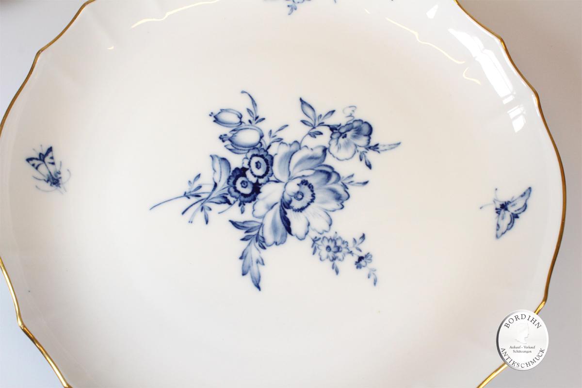 Kaffeeservice Meissen 6 Personen blaue Blume Porzellan Geschirr Platte