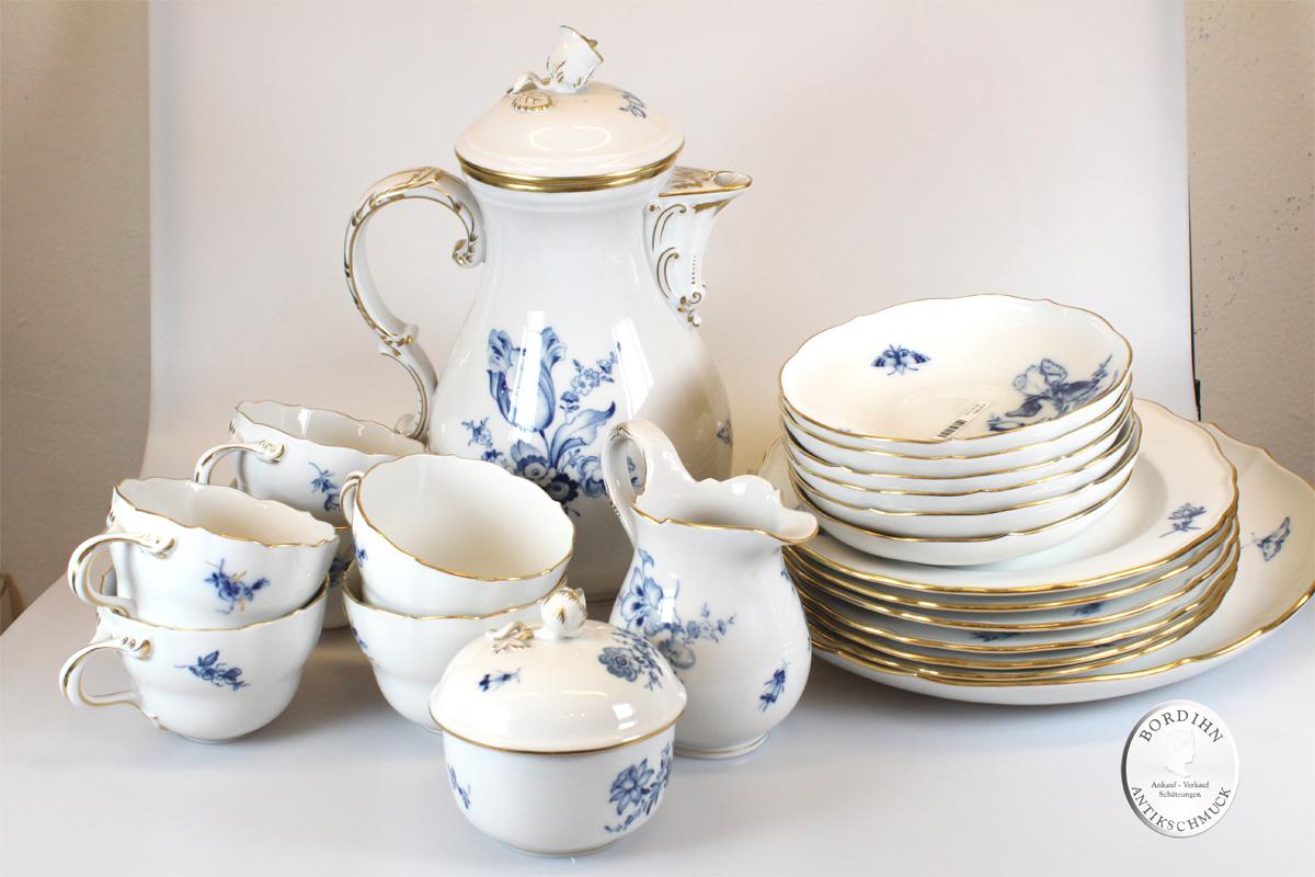 Kaffeeservice Meissen 6 Personen blaue Blume Geschirr Porzellan Tafel