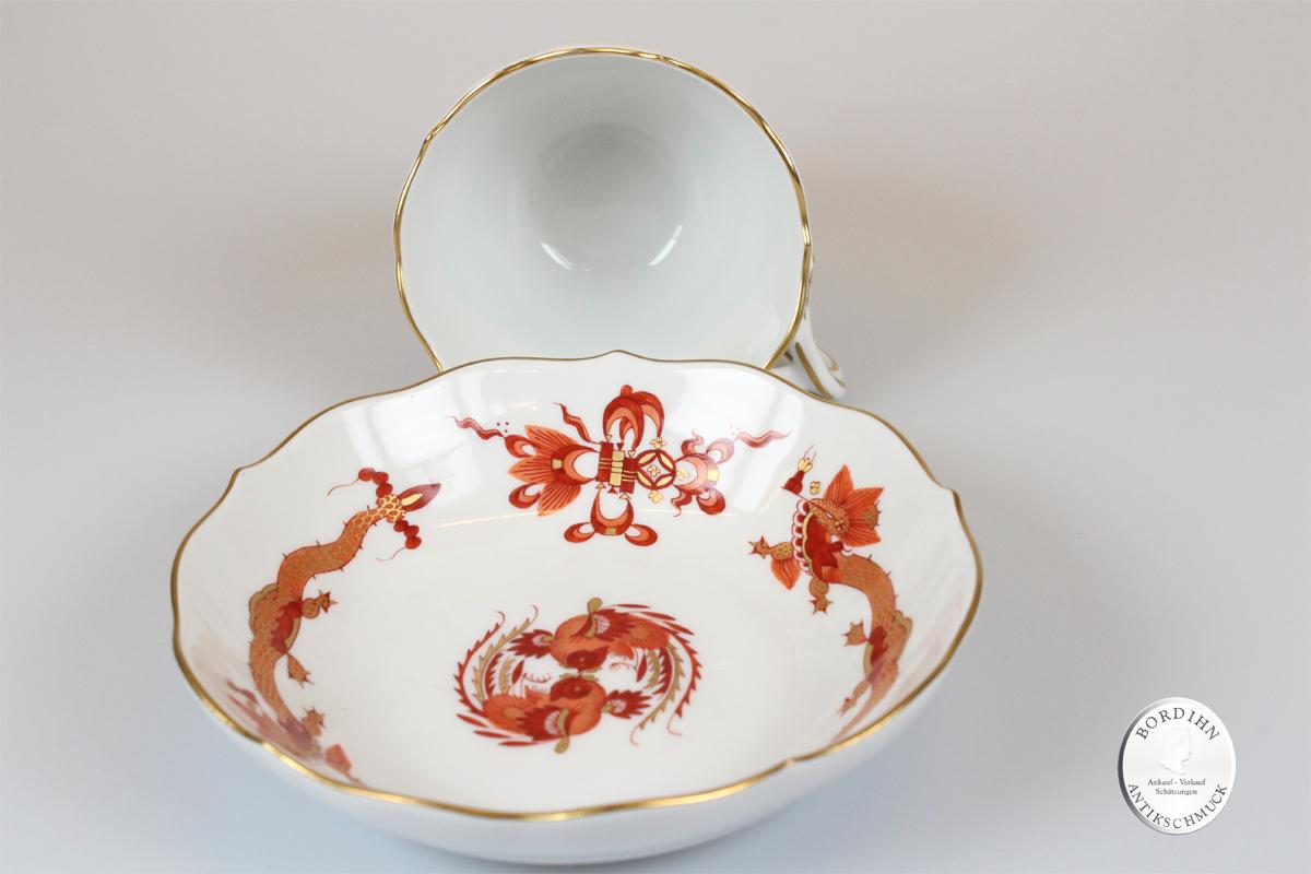 Mocca Tasse mit Untertasse Meißen Porzellan Geschirr Tafelgeschirr