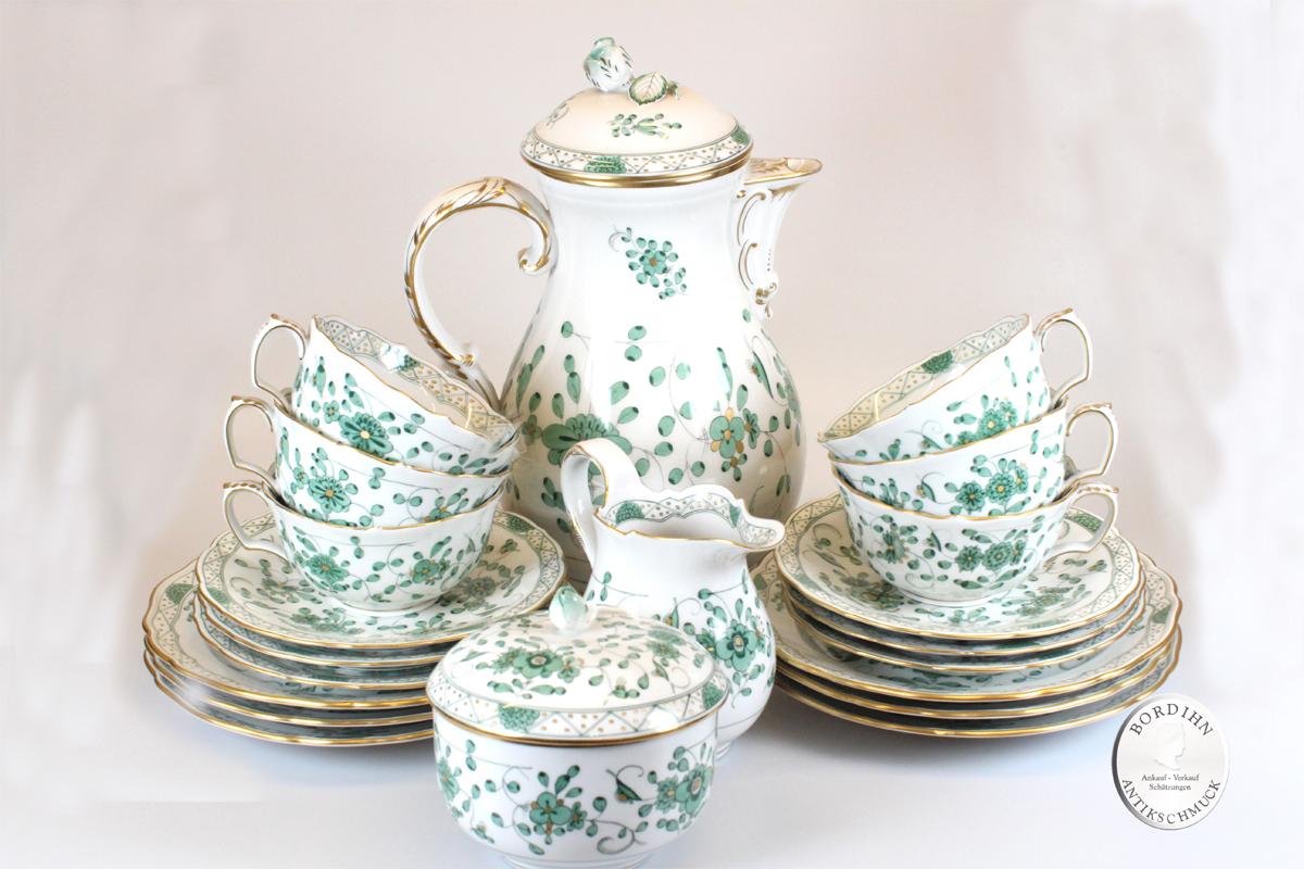 Kaffeeservice Meissen Indisch Grün Porzellan Tafelgeschirr 6 Personen