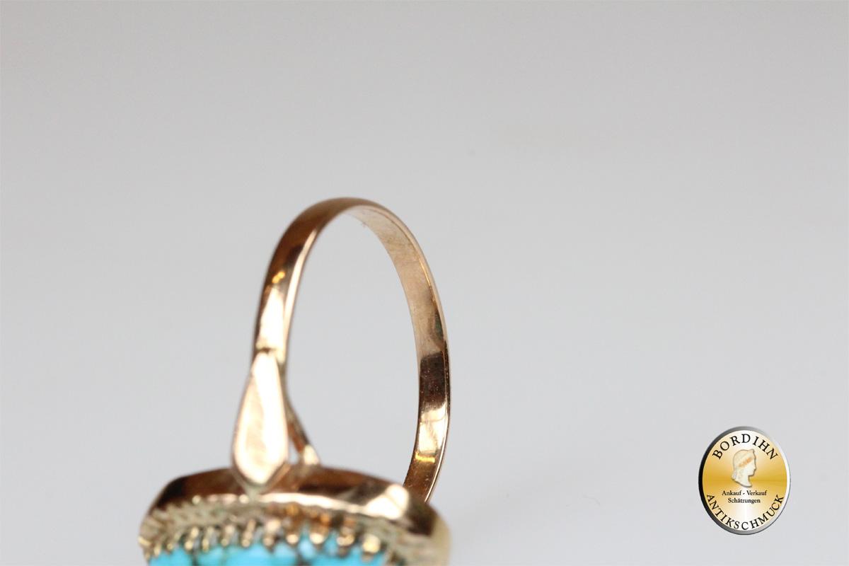 Ring; 14 Karat Gold, 1 Türkis