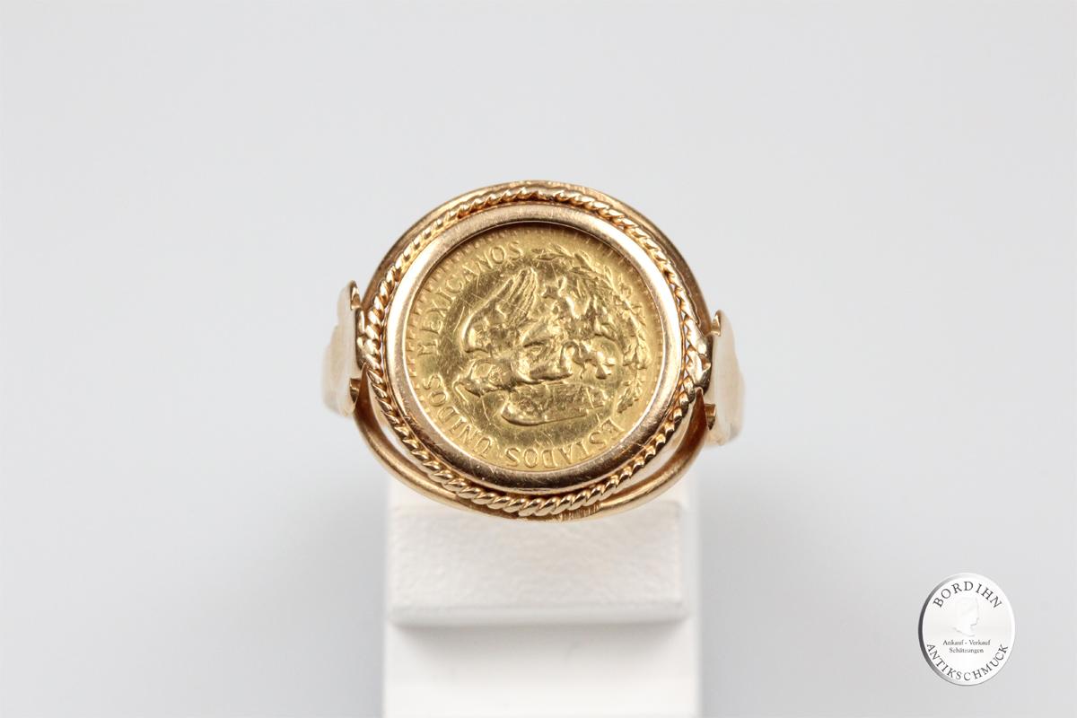 Ring 18 Karat Gold 2 Peso 900 Gold Münzring Goldring Schmuck Geschenk
