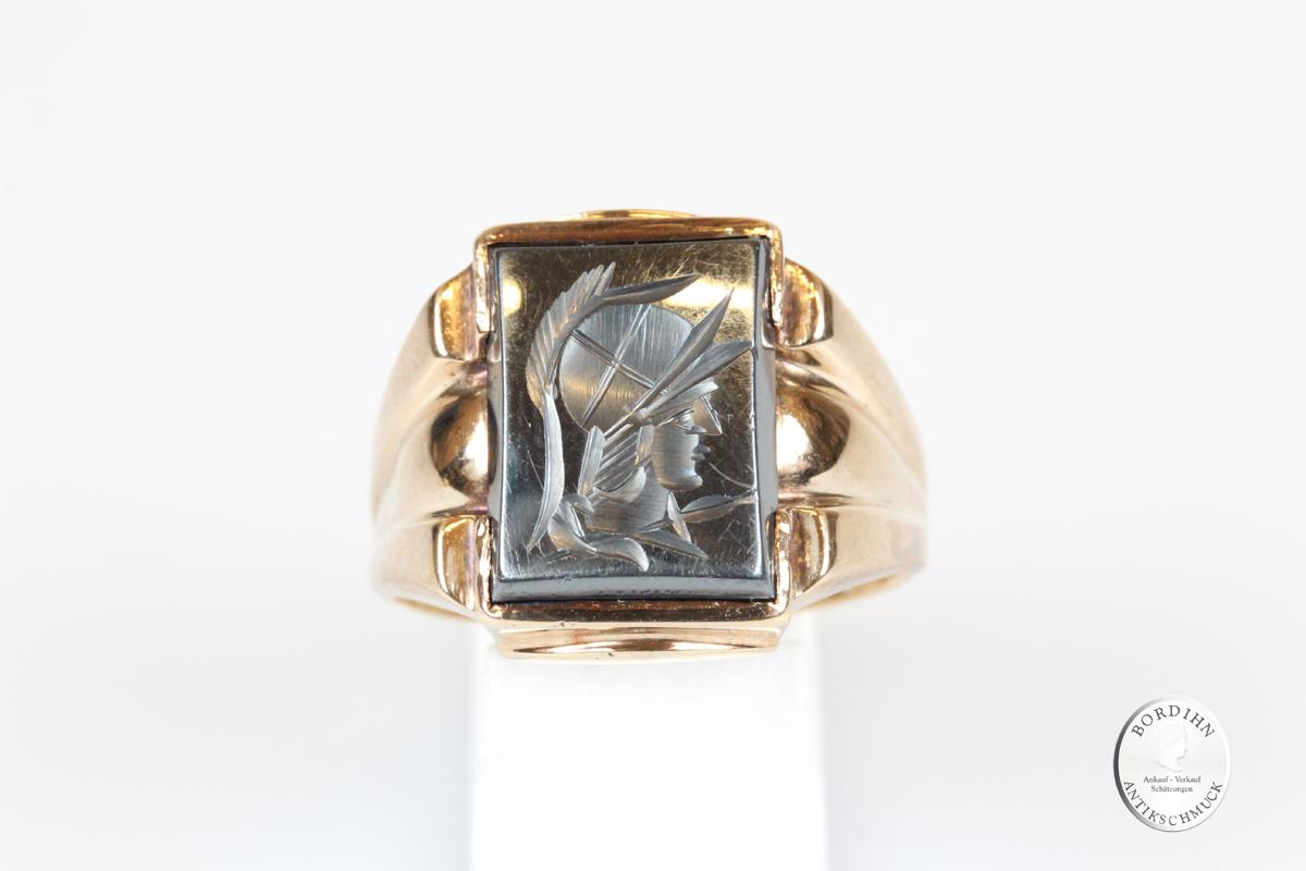 Ring 10 Karat Gold Herren Kopf mit Helm Pyrit Goldring Schmuck Herren