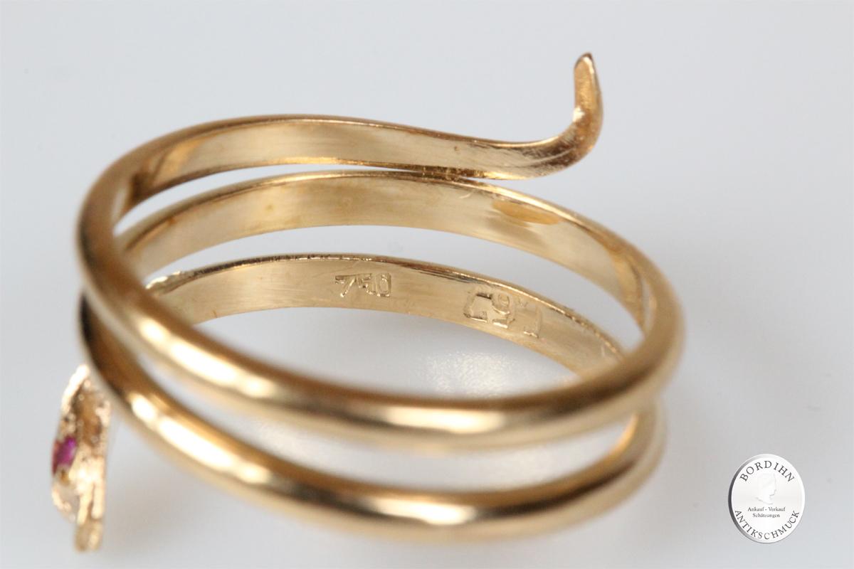 Ring 18 Karat Gold 2 Rubine Schlange Goldring Damen Geschenk