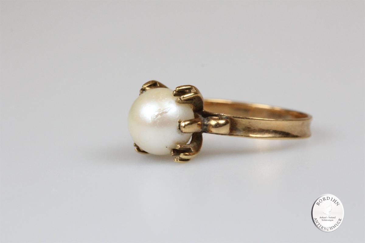 Ring 18 Karat Gold mit Perle Schmuckring Goldring Damenring Schmuck