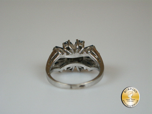 Ring 14K Weissgold 1 Brillant 0,25ct 10 Safire Fingerring Schmuck