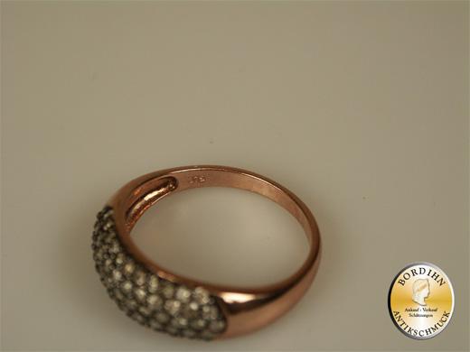 Damenring 9 Karat Rotgold 60 Diamanten viktorianisch Schmuckring Damen