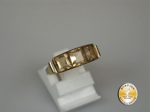 Ring; Damenring, 14 Karat Gold, 3x Citrin, Fassung mit Ornamenten