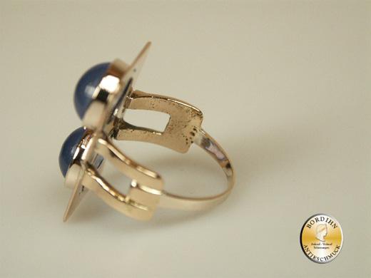 Ring; 14 Karat Gold, Art Deco, mit zwei blauen Steinen