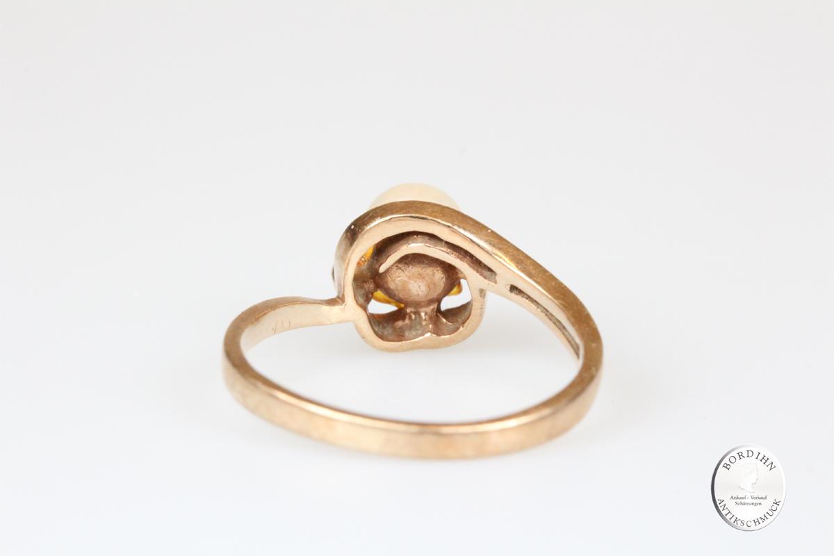 Ring 10 Karat Gold 1 Perle 2 Brillanten Goldring Schmuck Damen Geschenk