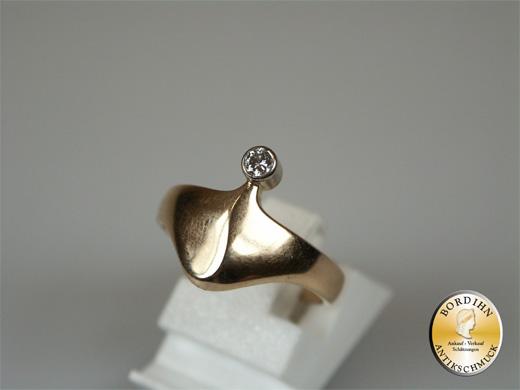 Ring 14 Karat Gold, 1 Brillant Goldring Ampel Fingerring Damen Schmuck