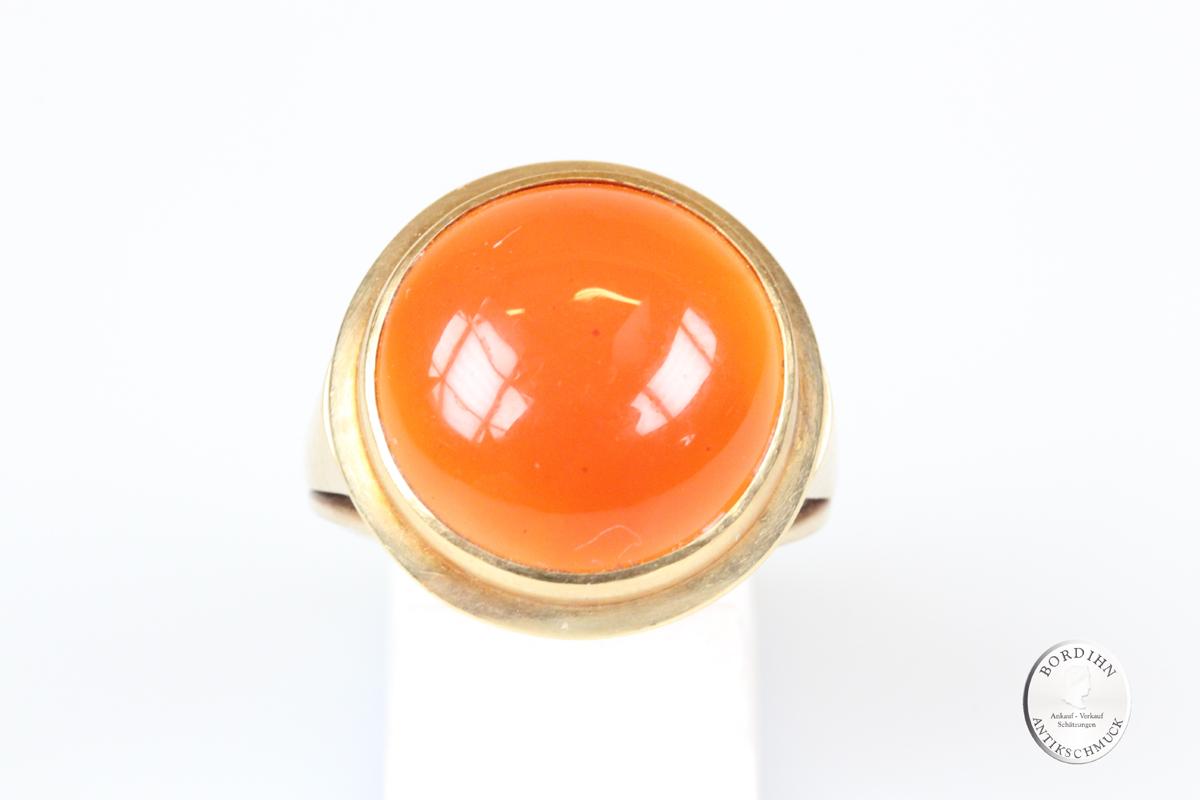 Ring 14 Karat Gold Karneol massiv Goldring Schmuckring Edelstein Damen