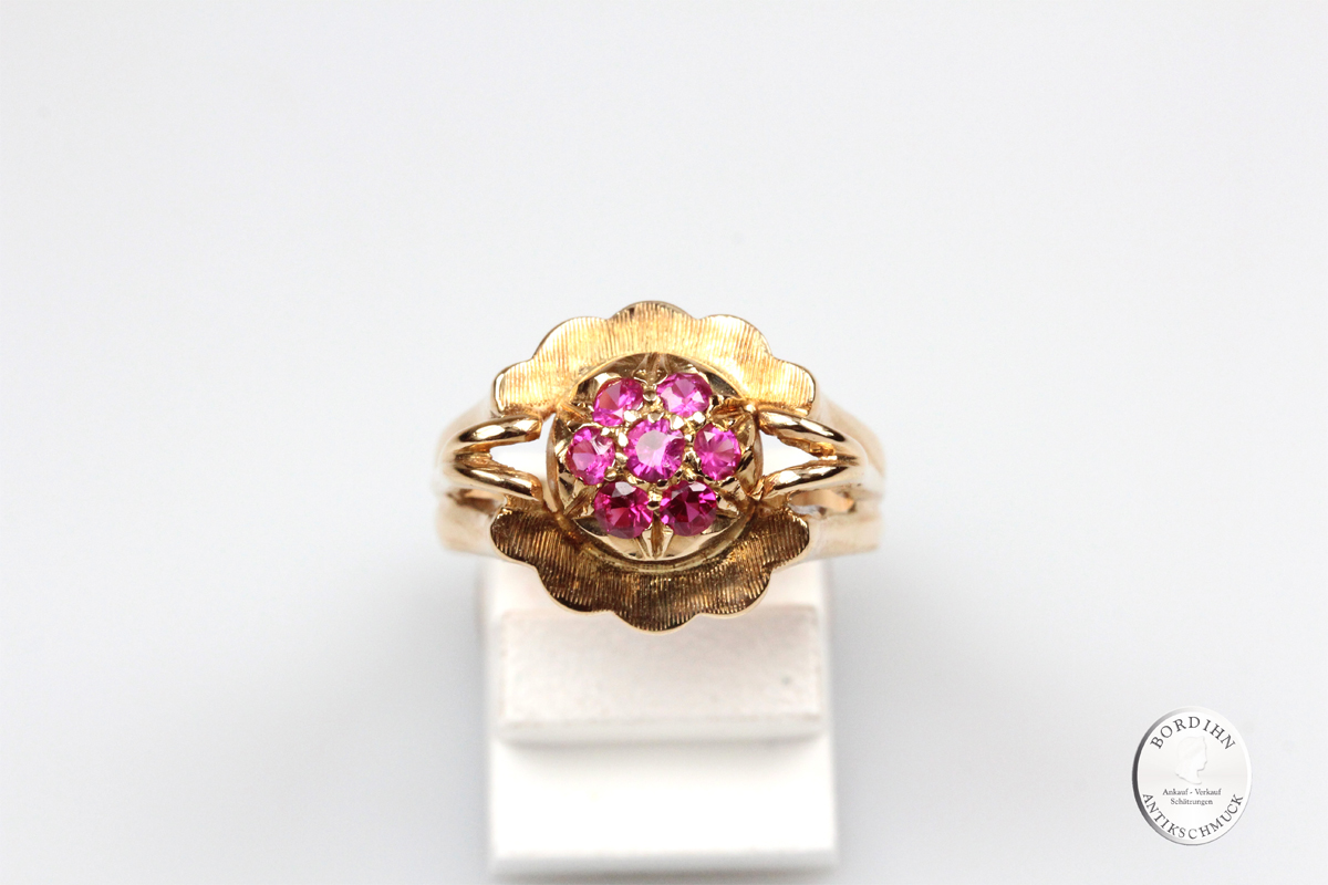 Ring 18 Karat Gold 7 Rubine Goldring Schmuckring massiv Schmuck Damen