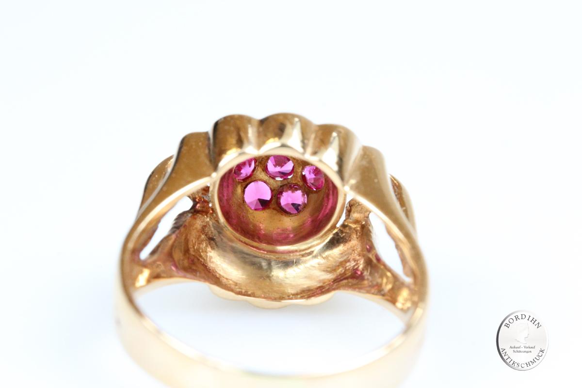 Ring 18 Karat Gold 7 Rubine Goldring Schmuckring massiv Schmuck Damen