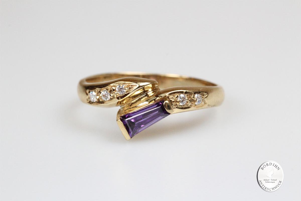 Ring 14 Karat Gold lila Saphir Buntstein Goldring Schmuckring Geschenk