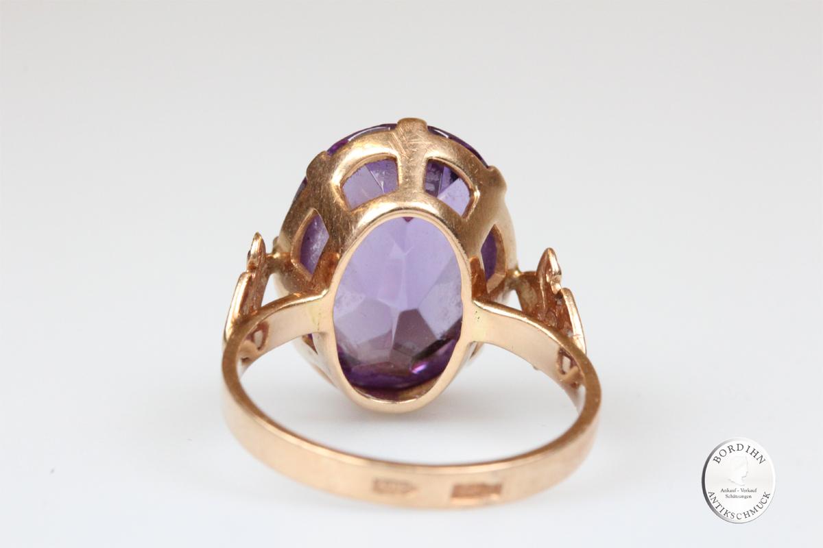 Ring 14 Karat Gold synth. Safir oval Schmuckring Damenring Goldring