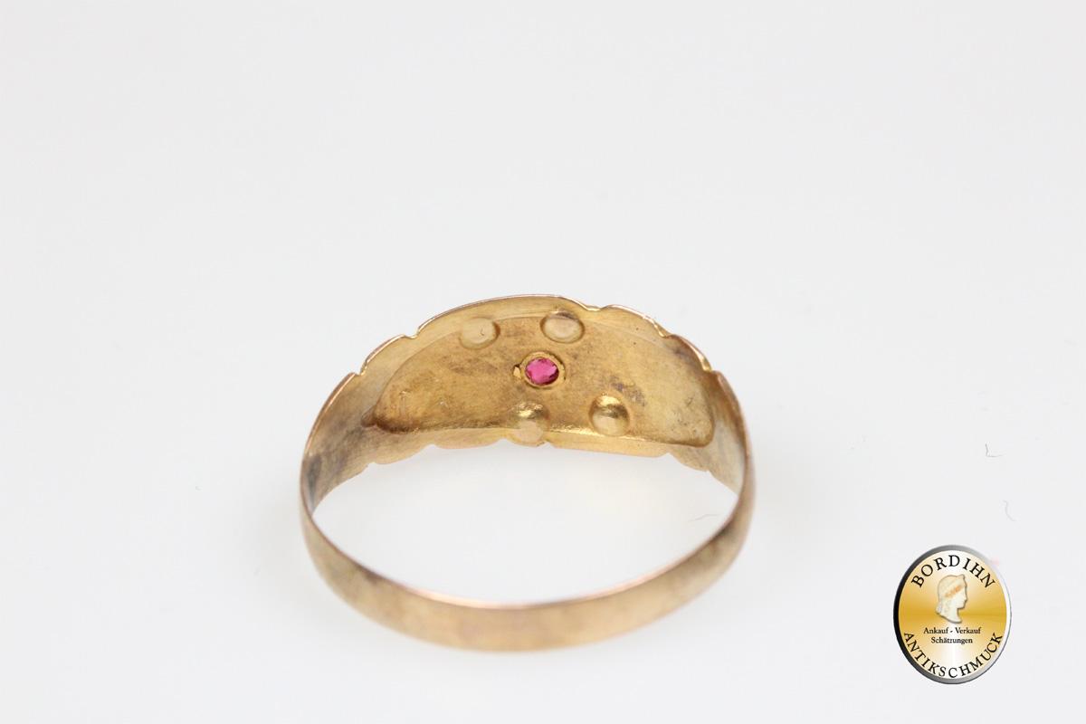 Ring Bandring 9 Karat Gold Rubin Perlchen antik Schmuck Antikschmuck