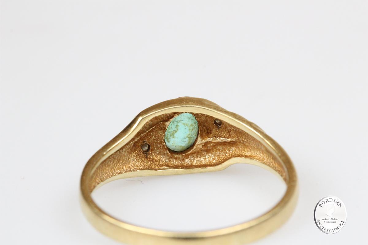 Ring Bandring 14 Karat Gold Brillantsplitter grüner Farbstein Goldring