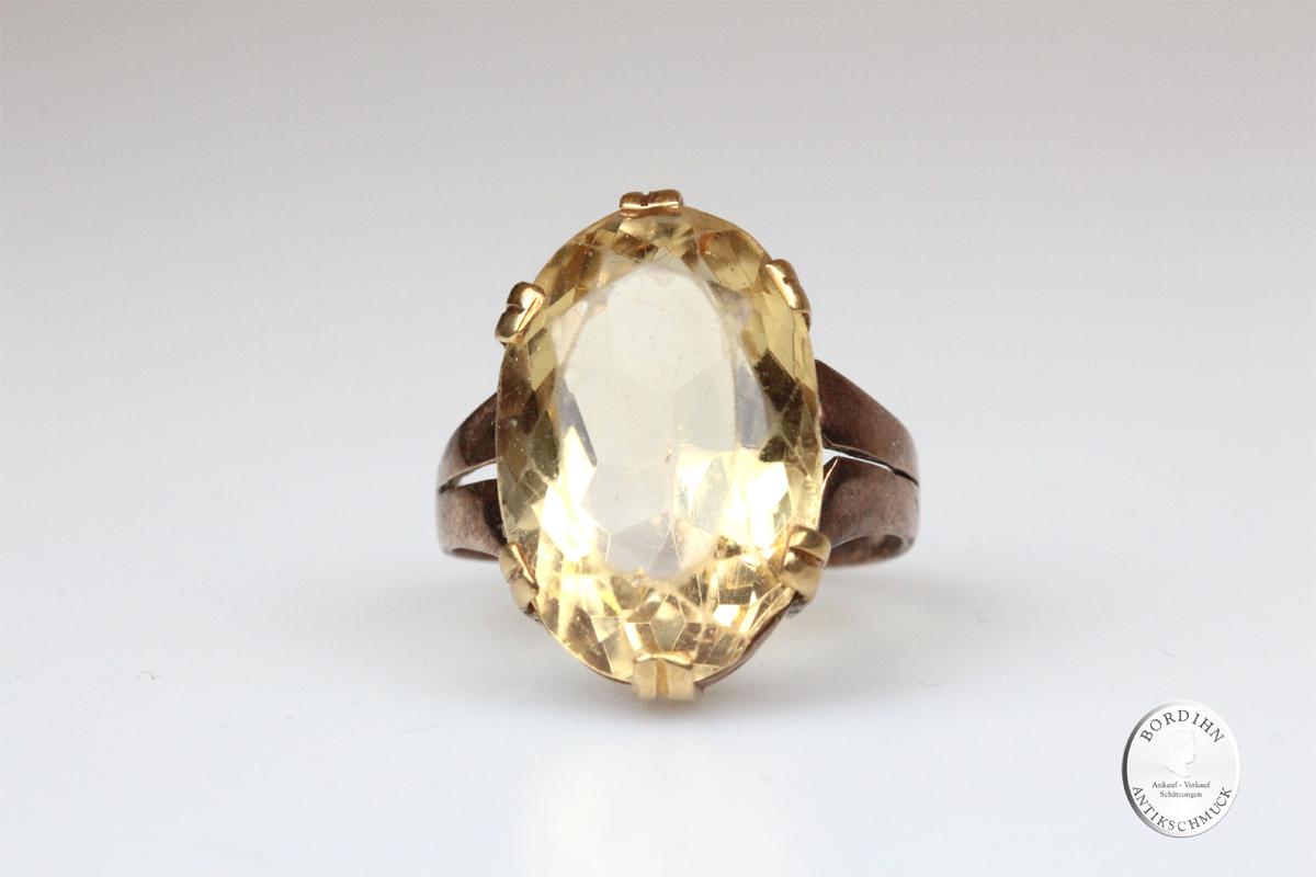 Ring 8 Karat Gold Citrin Edelstein Schmuckring Fingerring Geschenk