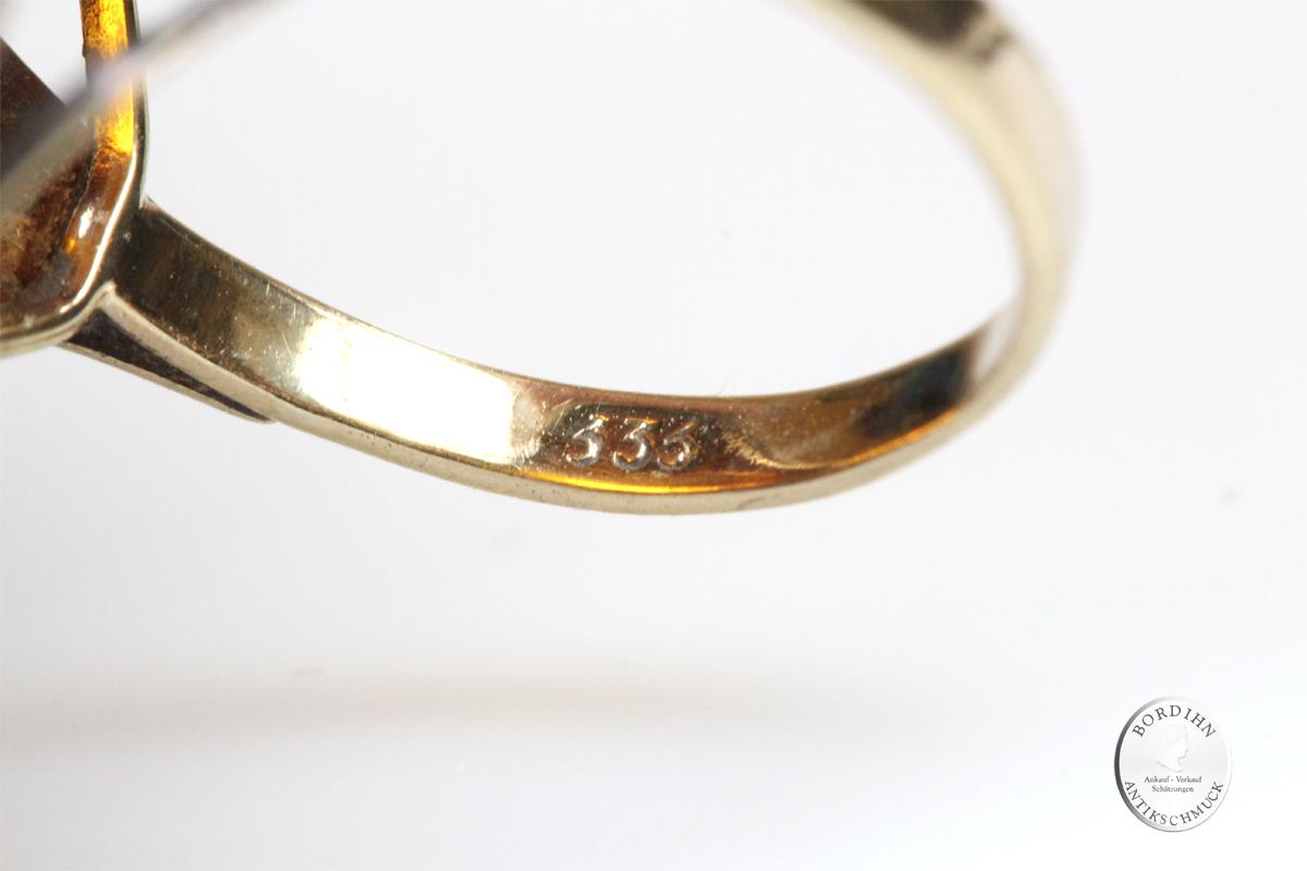 Ring 8 Karat Gold Bernstein Edelstein Schmuck Fingerring Schmuckring