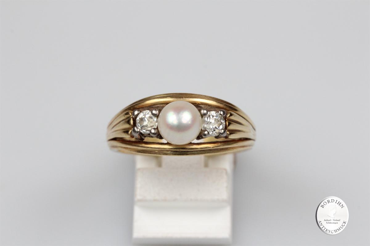Ring 14 Karat Gold 1 Perle 2 Brillanten Schmuckring Damenring Geschenk