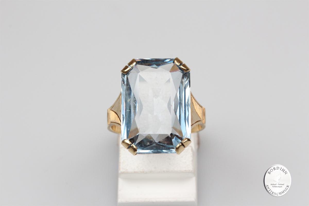 Ring 14 Karat Gold synthetischer Spinell Goldring Schmuckring Geschenk