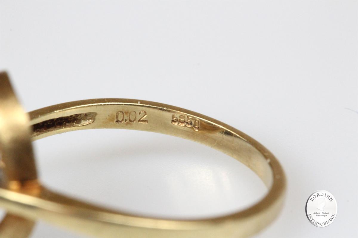 Ring 14 Karat Gold Rubine Brillant Goldring Damenring Edelsteine Rubin