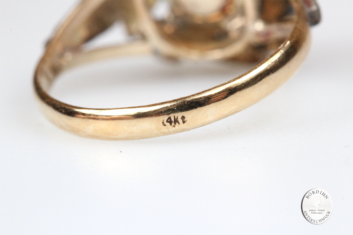 Ring 14 Karat Gold Perle Diamant antik Schmuckring Fingerring Damen