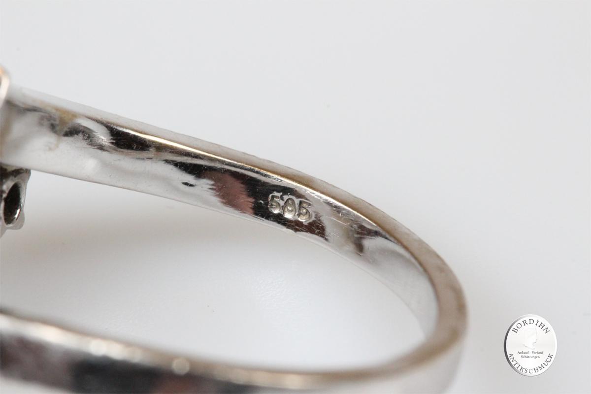 Ring 14 Karat Gold Perle 2 Brillanten Goldring Perlenring Brillantring