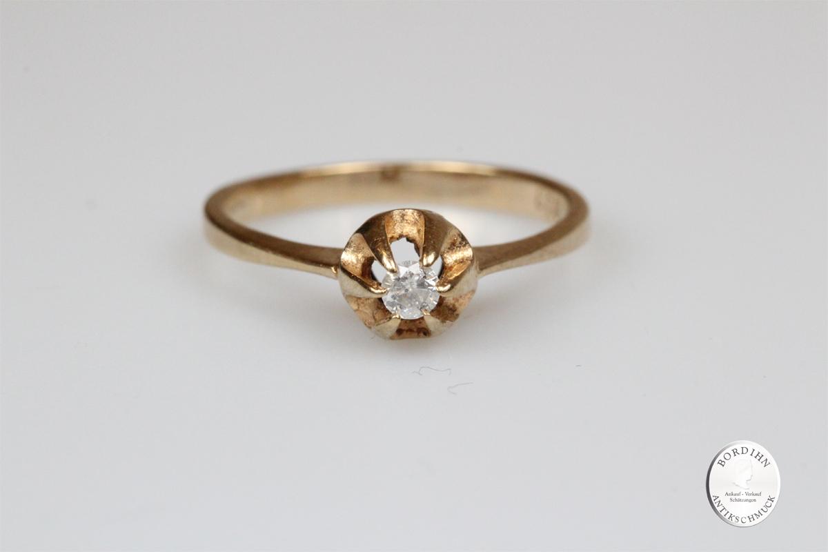 Ring 8 Karat Gold Brillant Brillantring Goldring Diamant Schmuck antik