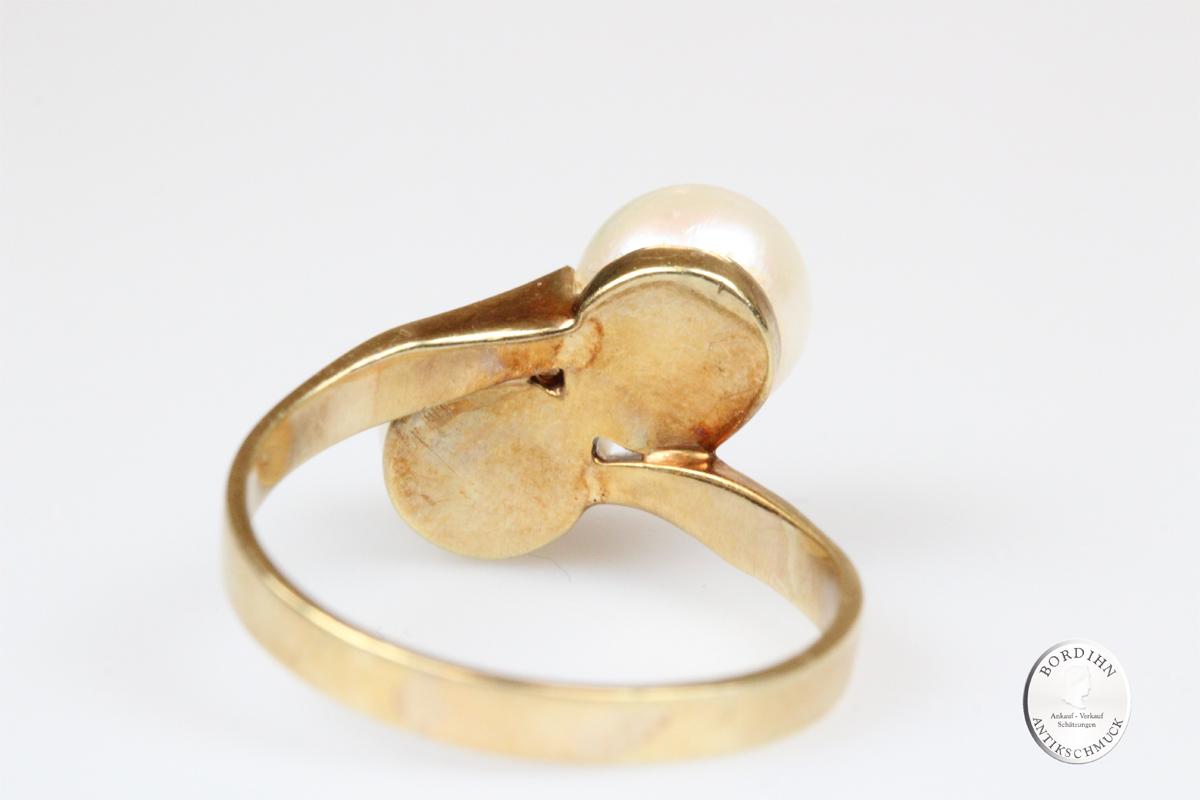 Ring 14 Karat Gold zwei Perlen Perlenring Fingerring Schmuckring Damen