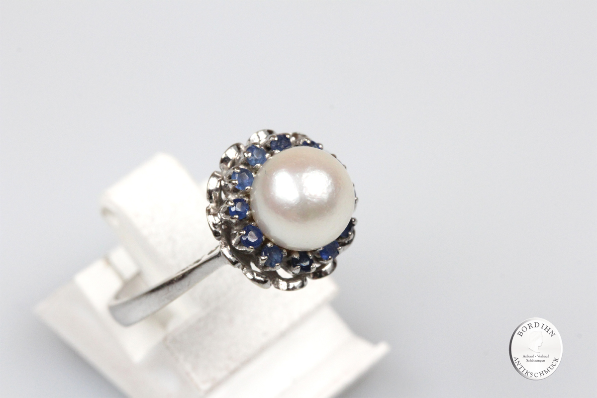 Ring 18 Karat Gold Weißgold Perle 13 Saphire Schmuckring Saphir Damen