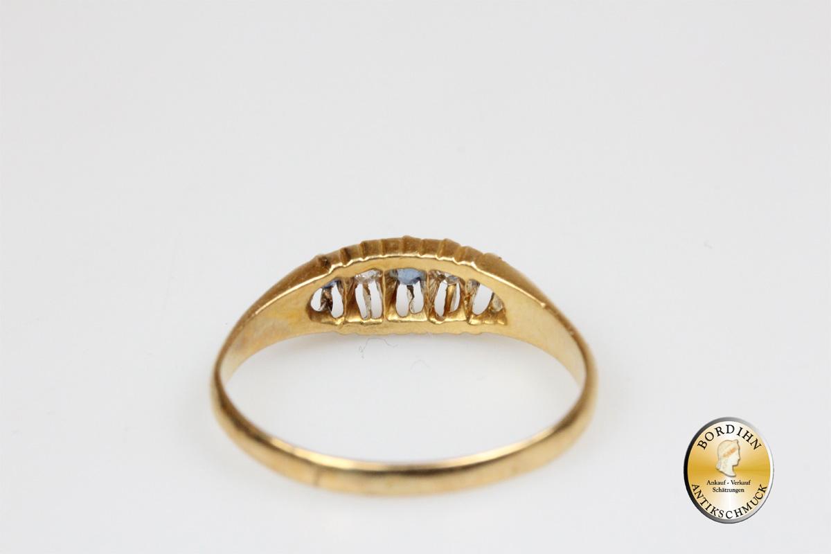 Ring 18 Karat Gold Brillanten und Saphire antik Goldring Schmuckring