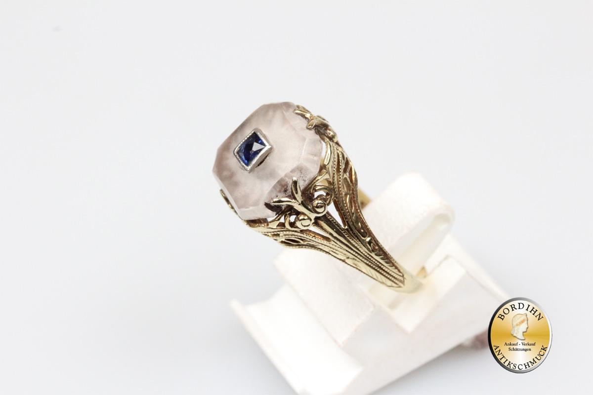 Ring; 10 Karat Gold, Saphir, Bergkristall, Goldring, Damenring, antik