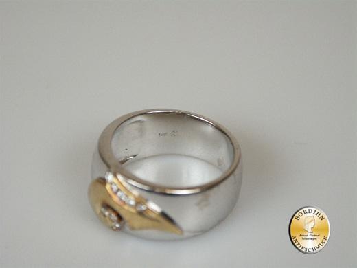 Ring 14 Karat Weissgold Gelbgold Brillantsplitter Schmuckring Bandring