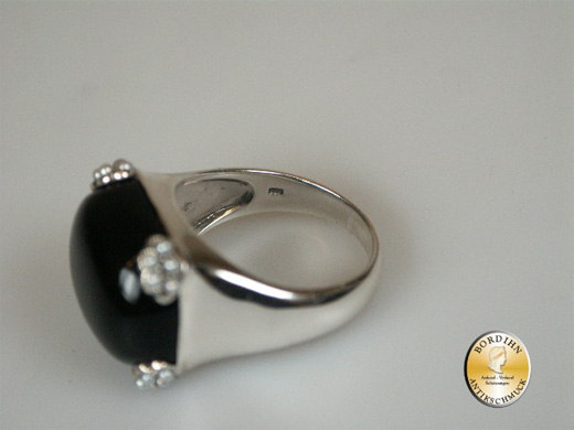 Ring 925 Sterling Silber Onyx Perlen neu Fingerring Schmuckring Damen